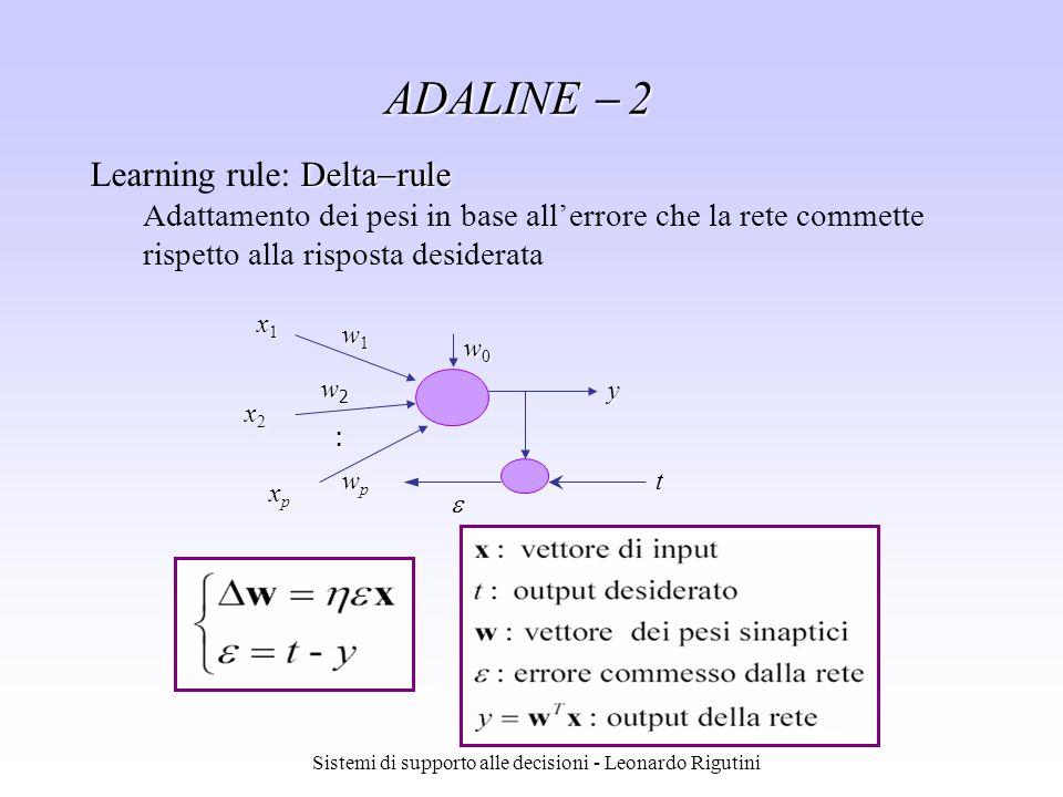 Sistemi di supporto alle decisioni - Leonardo Rigutini ADALINE 2 Delta rule Learning rule: Delta rule Adattamento dei pesi in base allerrore che la re