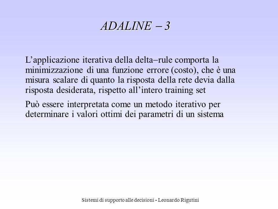 Sistemi di supporto alle decisioni - Leonardo Rigutini ADALINE 3 Lapplicazione iterativa della delta rule comporta la minimizzazione di una funzione e