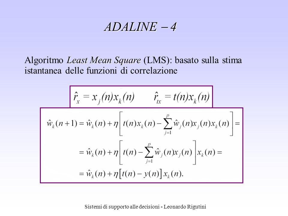 Sistemi di supporto alle decisioni - Leonardo Rigutini ADALINE 4 Least Mean Square Algoritmo Least Mean Square (LMS): basato sulla stima istantanea de