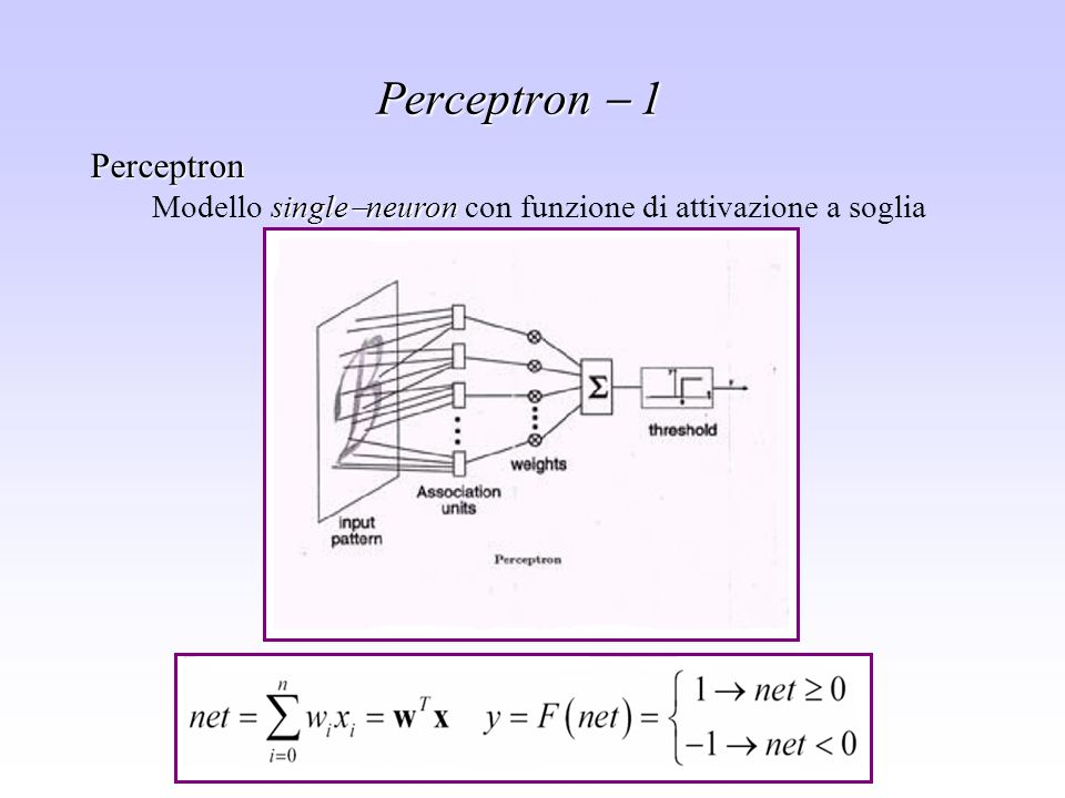 Sistemi di supporto alle decisioni - Leonardo Rigutini Perceptron single neuron Modello single neuron con funzione di attivazione a soglia Perceptron
