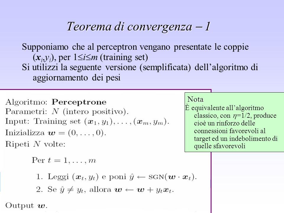 Sistemi di supporto alle decisioni - Leonardo Rigutini Teorema di convergenza 1 Supponiamo che al perceptron vengano presentate le coppie (x i,y i ),