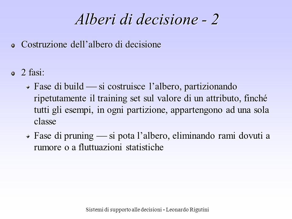 Sistemi di supporto alle decisioni - Leonardo Rigutini Alberi di decisione - 2 Costruzione dellalbero di decisione 2 fasi: Fase di build si costruisce