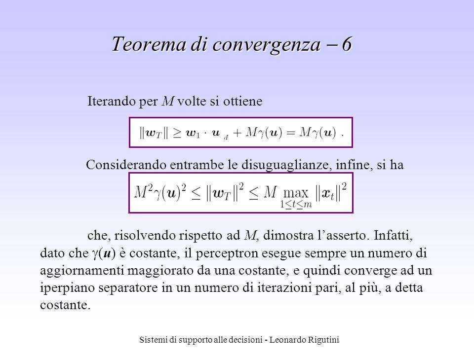 Sistemi di supporto alle decisioni - Leonardo Rigutini Considerando entrambe le disuguaglianze, infine, si ha Iterando per M volte si ottiene che, ris