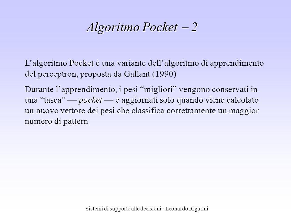 Sistemi di supporto alle decisioni - Leonardo Rigutini Pocket Lalgoritmo Pocket è una variante dellalgoritmo di apprendimento del perceptron, proposta