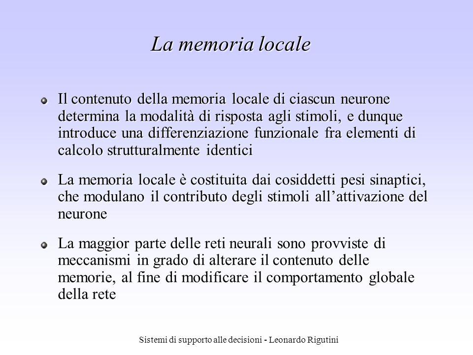 Sistemi di supporto alle decisioni - Leonardo Rigutini La memoria locale Il contenuto della memoria locale di ciascun neurone determina la modalità di