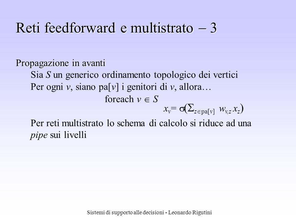 Sistemi di supporto alle decisioni - Leonardo Rigutini Propagazione in avanti Sia S un generico ordinamento topologico dei vertici Per ogni v, siano p