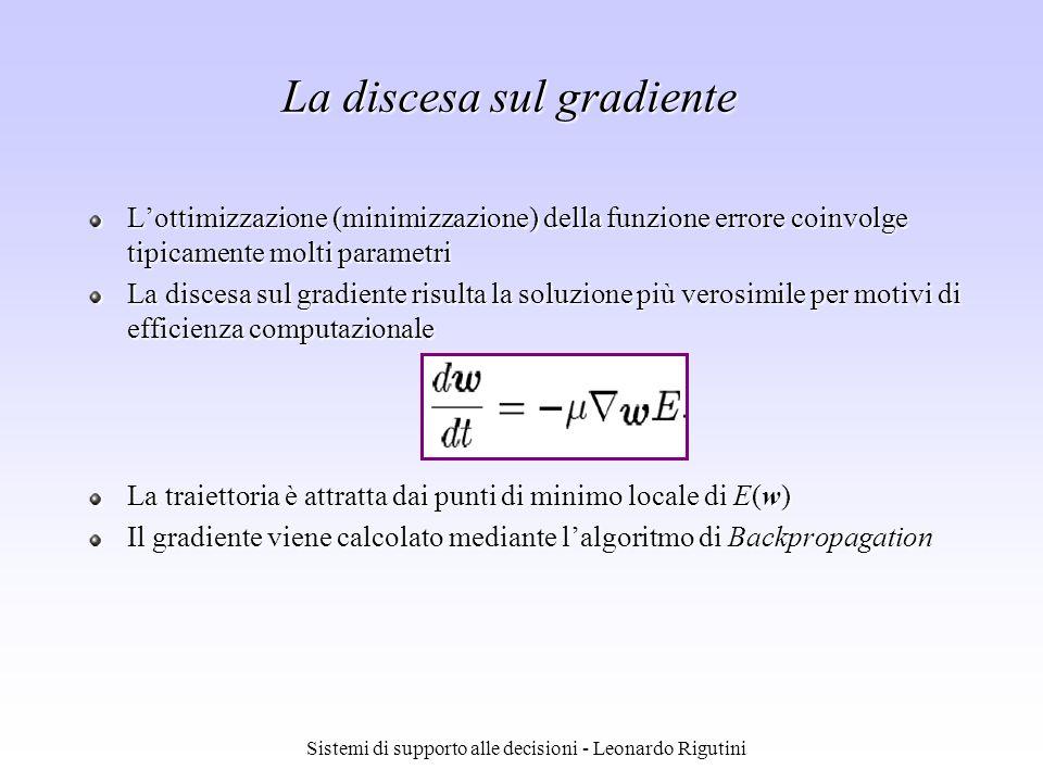 Sistemi di supporto alle decisioni - Leonardo Rigutini Lottimizzazione (minimizzazione) della funzione errore coinvolge tipicamente molti parametri La