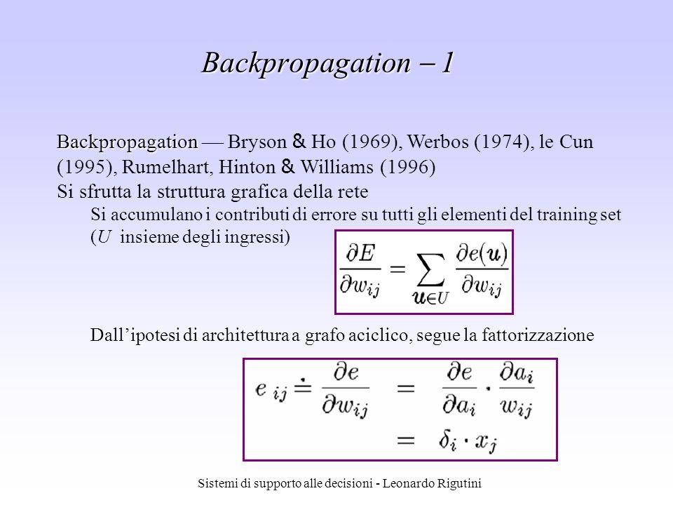 Sistemi di supporto alle decisioni - Leonardo Rigutini Backpropagation Backpropagation Bryson & Ho (1969), Werbos (1974), le Cun (1995), Rumelhart, Hi