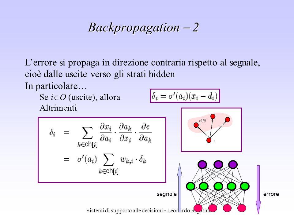 Sistemi di supporto alle decisioni - Leonardo Rigutini Lerrore si propaga in direzione contraria rispetto al segnale, cioè dalle uscite verso gli stra