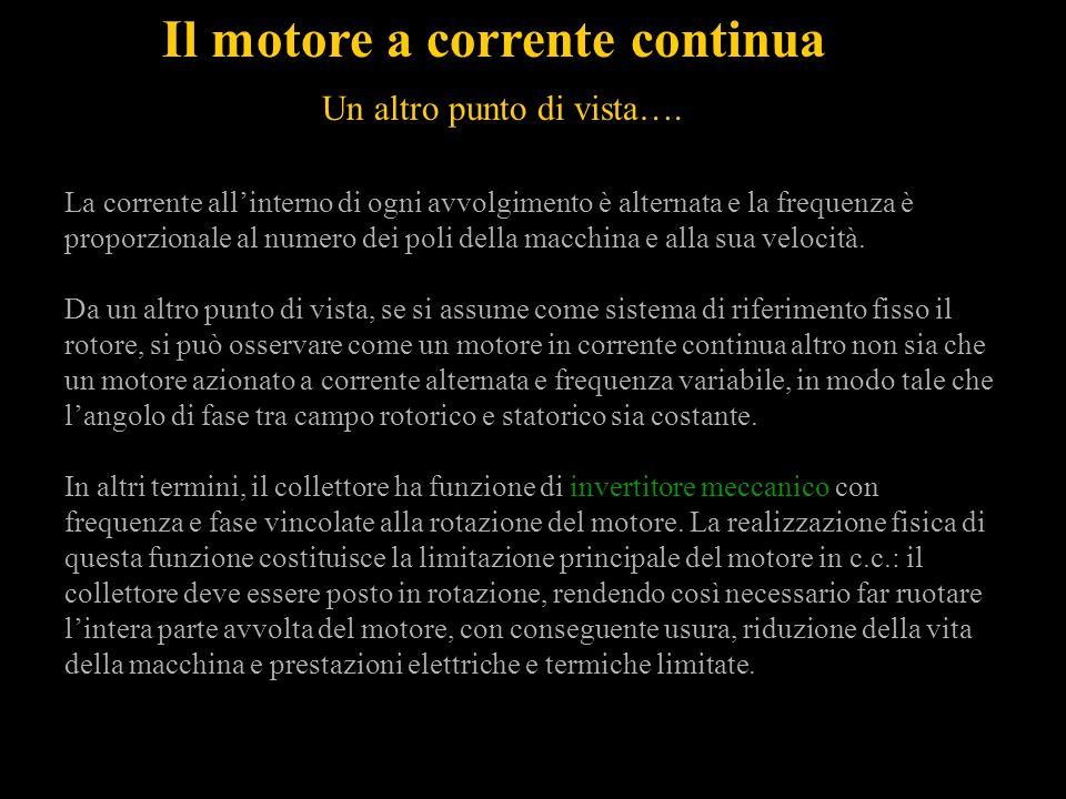 Il motore a corrente continua La corrente allinterno di ogni avvolgimento è alternata e la frequenza è proporzionale al numero dei poli della macchina