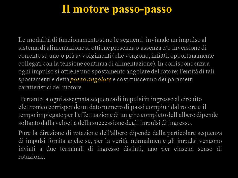 Il motore passo-passo Le modalità di funzionamento sono le seguenti: inviando un impulso al sistema di alimentazione si ottiene presenza o assenza e/o