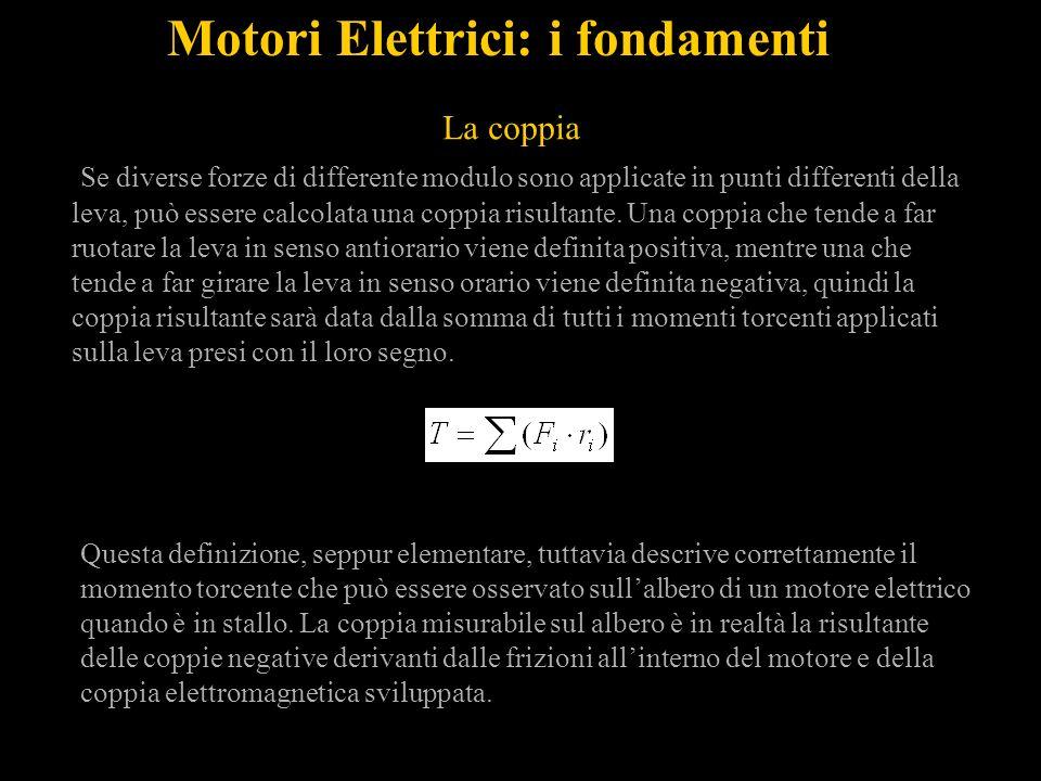 Motori Elettrici: i fondamenti Se diverse forze di differente modulo sono applicate in punti differenti della leva, può essere calcolata una coppia risultante.