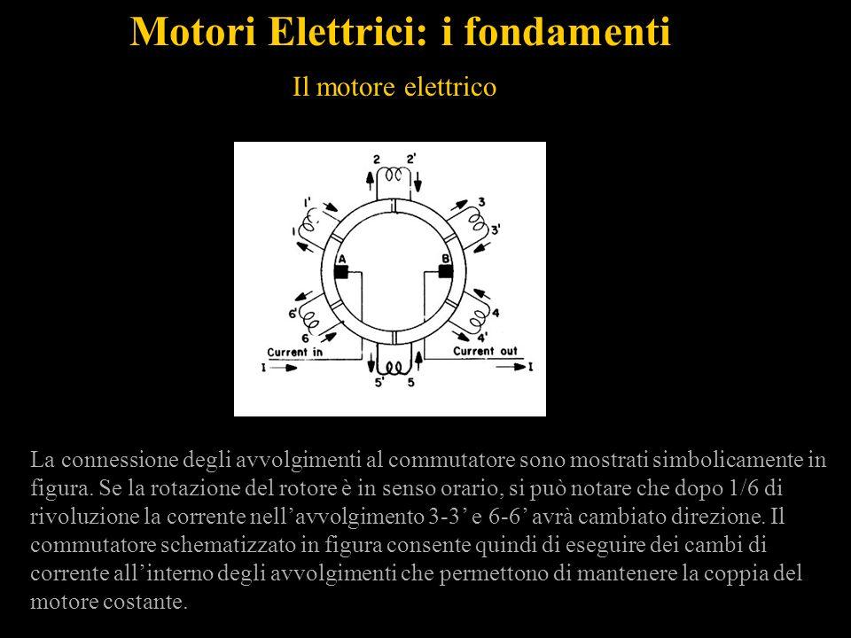 Motori Elettrici: i fondamenti Il motore elettrico La connessione degli avvolgimenti al commutatore sono mostrati simbolicamente in figura. Se la rota