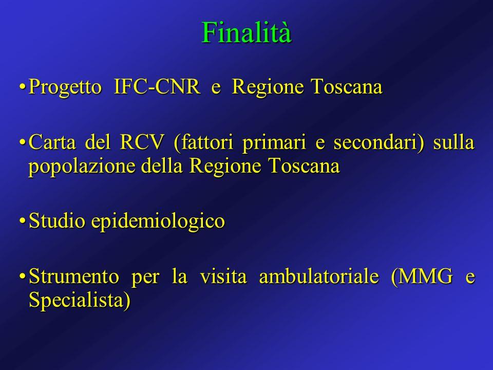 Progetto IFC-CNR e Regione ToscanaProgetto IFC-CNR e Regione Toscana Carta del RCV (fattori primari e secondari) sulla popolazione della Regione Tosca