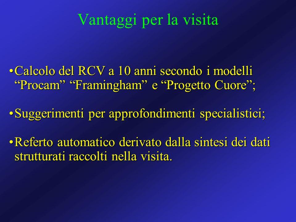 Calcolo del RCV a 10 anni secondo i modelli Procam Framingham e Progetto Cuore;Calcolo del RCV a 10 anni secondo i modelli Procam Framingham e Progett