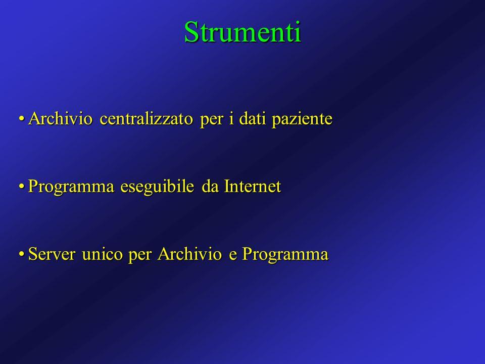Archivio centralizzato per i dati pazienteArchivio centralizzato per i dati paziente Programma eseguibile da InternetProgramma eseguibile da Internet