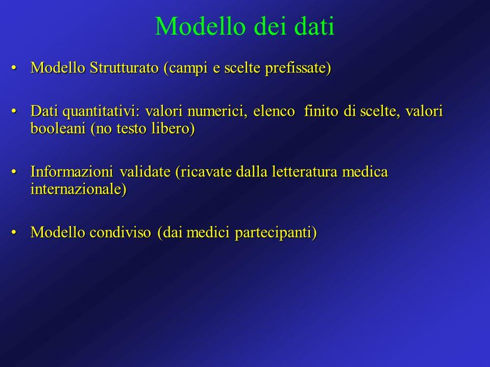 Modello dei dati Modello Strutturato (campi e scelte prefissate)Modello Strutturato (campi e scelte prefissate) Dati quantitativi: valori numerici, el