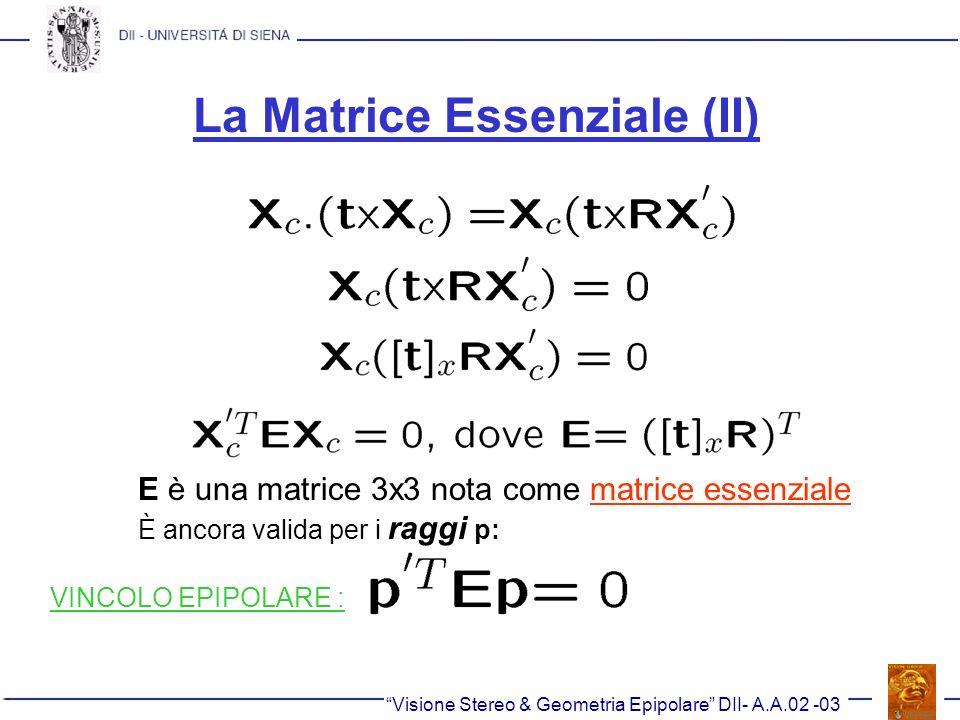 La Matrice Essenziale (II) Visione Stereo & Geometria Epipolare DII- A.A.02 -03 E è una matrice 3x3 nota come matrice essenziale È ancora valida per i