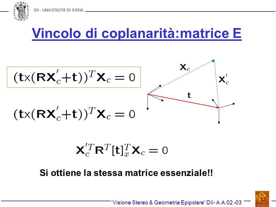 Vincolo di coplanarità:matrice E Visione Stereo & Geometria Epipolare DII- A.A.02 -03 Si ottiene la stessa matrice essenziale!!