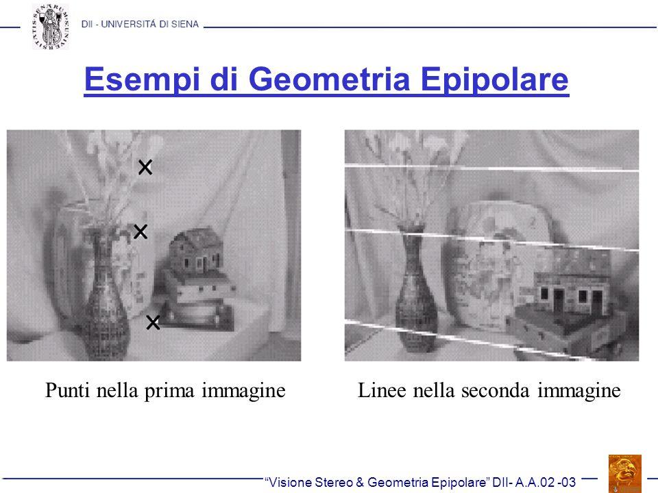 Esempi di Geometria Epipolare Visione Stereo & Geometria Epipolare DII- A.A.02 -03 Punti nella prima immagineLinee nella seconda immagine