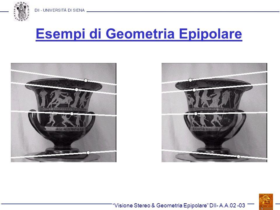 Esempi di Geometria Epipolare Visione Stereo & Geometria Epipolare DII- A.A.02 -03