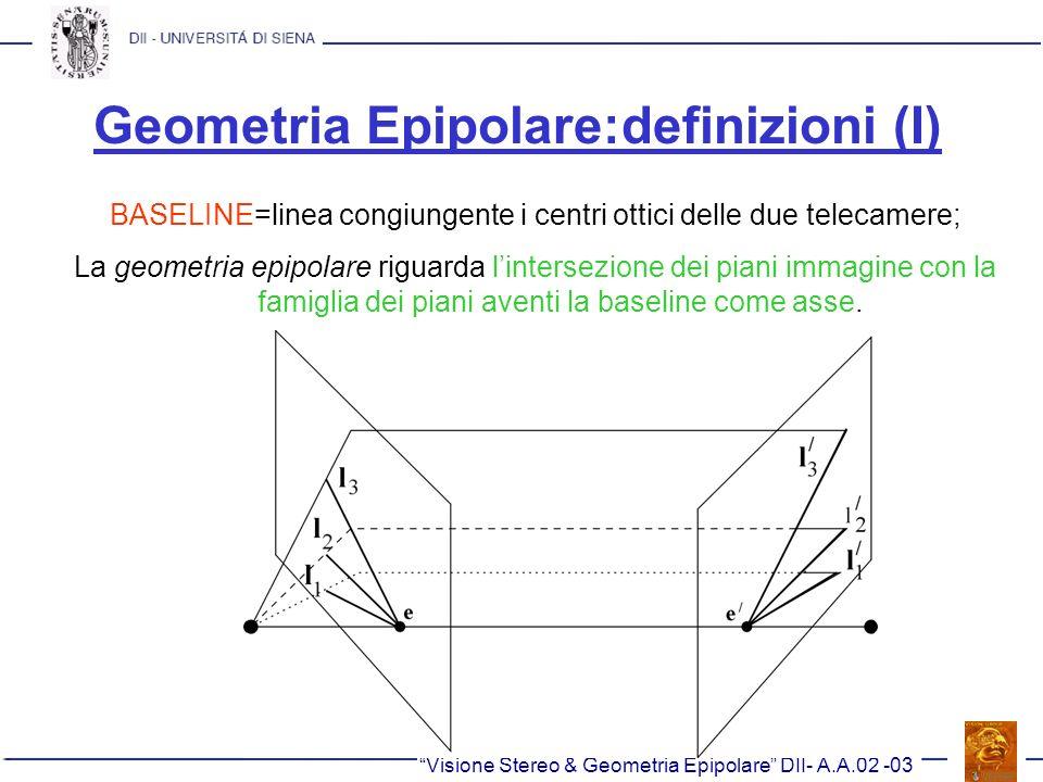 Geometria Epipolare:definizioni (I) BASELINE=linea congiungente i centri ottici delle due telecamere; La geometria epipolare riguarda lintersezione de