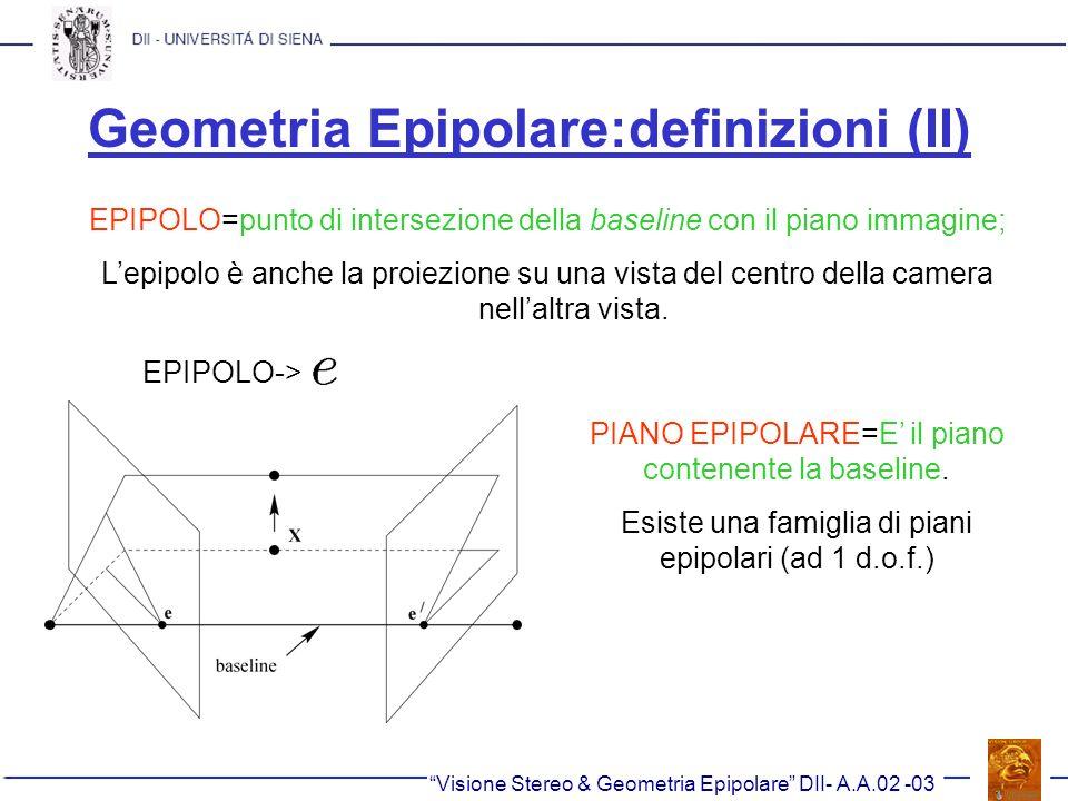 Geometria Epipolare:definizioni (II) EPIPOLO=punto di intersezione della baseline con il piano immagine; Lepipolo è anche la proiezione su una vista d