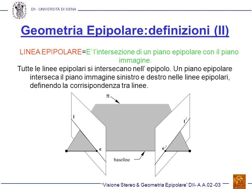 Geometria Epipolare:definizioni (II) LINEA EPIPOLARE=E lintersezione di un piano epipolare con il piano immagine. Tutte le linee epipolari si intersec