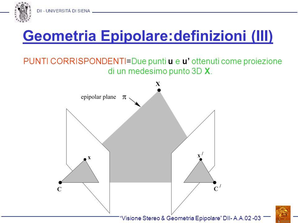 Geometria Epipolare:definizioni (III) PUNTI CORRISPONDENTI=Due punti u e u ottenuti come proiezione di un medesimo punto 3D X. Visione Stereo & Geomet