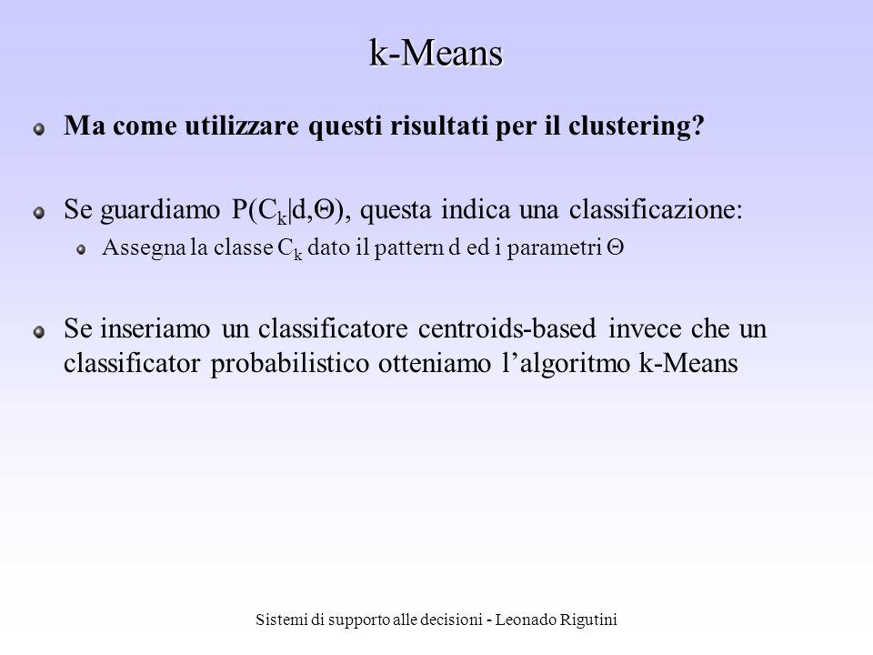 Sistemi di supporto alle decisioni - Leonado Rigutini k-Means Ma come utilizzare questi risultati per il clustering? Se guardiamo P(C k |d, ), questa