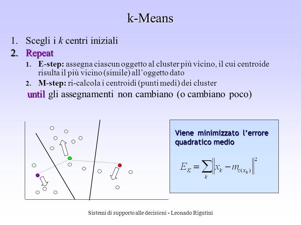 Sistemi di supporto alle decisioni - Leonado Rigutini k-Means 1.Scegli i k centri iniziali 2.Repeat 1. E-step: assegna ciascun oggetto al cluster più