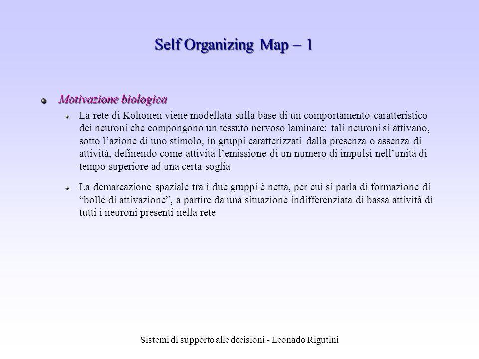 Sistemi di supporto alle decisioni - Leonado Rigutini Motivazione biologica La rete di Kohonen viene modellata sulla base di un comportamento caratter