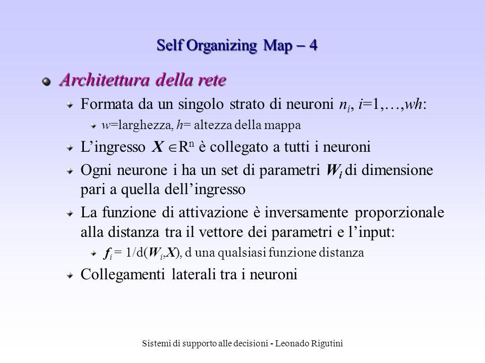 Sistemi di supporto alle decisioni - Leonado Rigutini Architettura della rete Formata da un singolo strato di neuroni n i, i=1,…,wh: w=larghezza, h= a