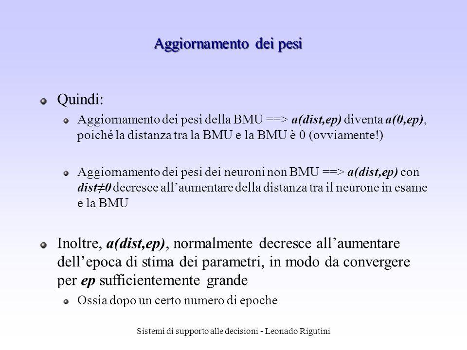 Sistemi di supporto alle decisioni - Leonado Rigutini Quindi: Aggiornamento dei pesi della BMU ==> a(dist,ep) diventa a(0,ep), poiché la distanza tra