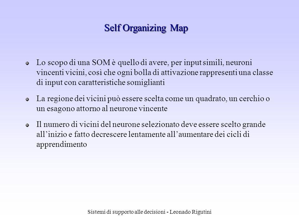 Sistemi di supporto alle decisioni - Leonado Rigutini Lo scopo di una SOM è quello di avere, per input simili, neuroni vincenti vicini, così che ogni