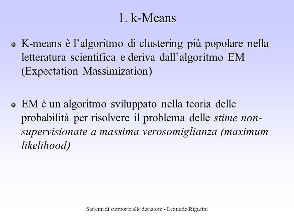 Sistemi di supporto alle decisioni - Leonado Rigutini Lalgoritmo di apprendimento delle SOM è molto semplice (non è necessario il calcolo di derivate): Viene selezionato il neurone j* con vettore dei pesi più vicino al pattern di input; tale neurone richiama il vettore di input e modifica il suo vettore dei pesi in modo da allinearlo a quello di input Vengono inoltre modificati i vettori dei pesi dei neuroni vicini a j* regioni la rete cerca di creare regioni costituite da un ampio set di valori attorno allinput con cui apprende (cioè non fa corrispondere un solo valore allinput, ma un set di valori) i vettori che sono spazialmente vicini ai valori di training (apprendimento) saranno comunque classificati correttamente anche se la rete non li ha mai visti (capacità di generalizzazione) Self Organizing Map