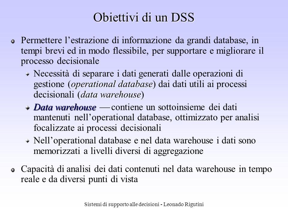 Sistemi di supporto alle decisioni - Leonado Rigutini Sistemi di supporto alle decisioni - 5 Tra le problematiche da affrontare per la realizzazione di un sistema di supporto alle decisioni ricordiamo la necessità di...