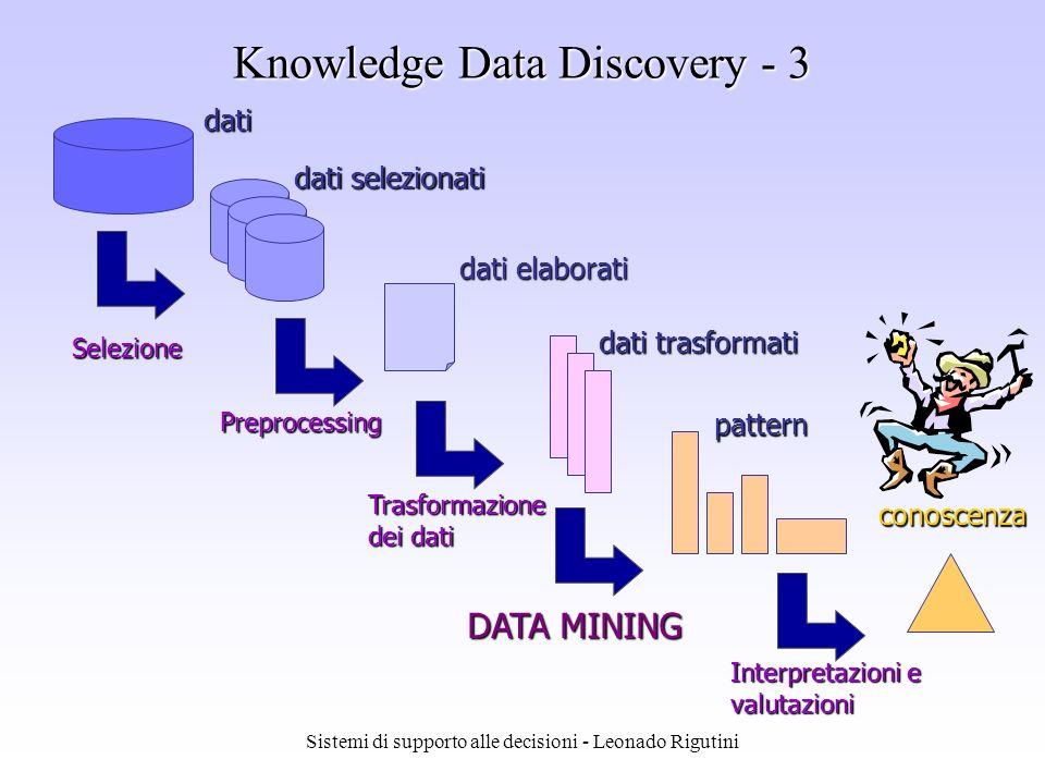 Sistemi di supporto alle decisioni - Leonado Rigutini Knowledge Data Discovery - 2 Il processo KDD prevede in input dati grezzi e fornisce in output informazioni utili ottenute attraverso le fasi di: Selezione Preprocessing Trasformazione dei dati Data mining Interpretazione e valutazione