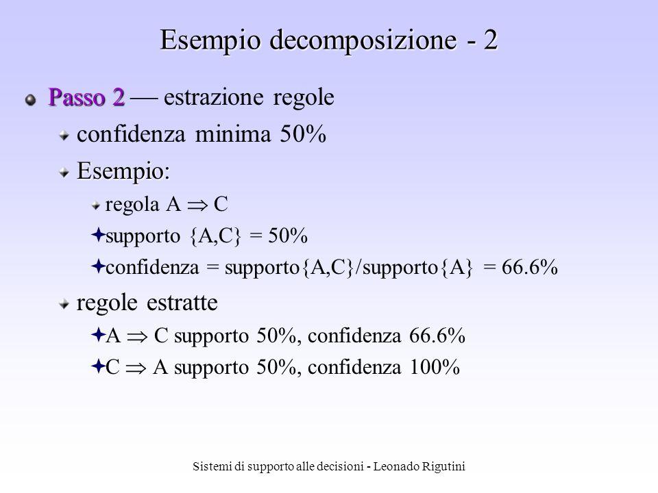 Sistemi di supporto alle decisioni - Leonado Rigutini Esempio decomposizione - 1 Passo 1 Passo 1: estrazione frequent itemset SupportoFrequent itemset 50%{A,C} 50%{C} 50%{B} 75%{A} Transazioni Acquisto 1: A,B,C Acquisto 2: A,C Acquisto 3: A,D Acquisto 4: B,C,D
