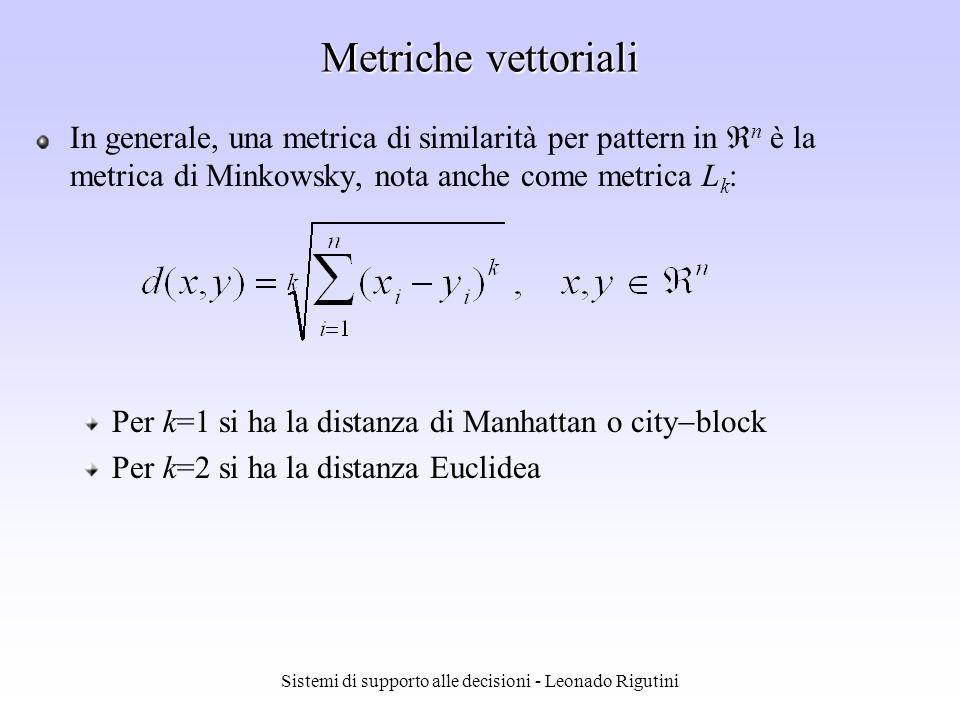 Sistemi di supporto alle decisioni - Leonado Rigutini Metriche di similarità Definita la modalità di descrizione di sequenze/ oggetti da ricercare, è necessario definire una metrica da usare per valutarne la similarità, in base alla distanza tra i rispettivi descrittori La metrica dovrebbe rispettare la percezione del concetto di similarità: descrittori vicini corrispondono a sequenze/oggetti simili Una metrica d(x,y), definita su uno spazio S, è una funzione che associa uno scalare a coppie di elementi in S, con le seguenti proprietà: Non negatività: d(x,y) 0 Riflessività: d(x,y) = 0 sse x=y Simmetria: d(x,y) = d(y,x) Disuguaglianza triangolare: d(x,y)+d(y,z) d(x,z)