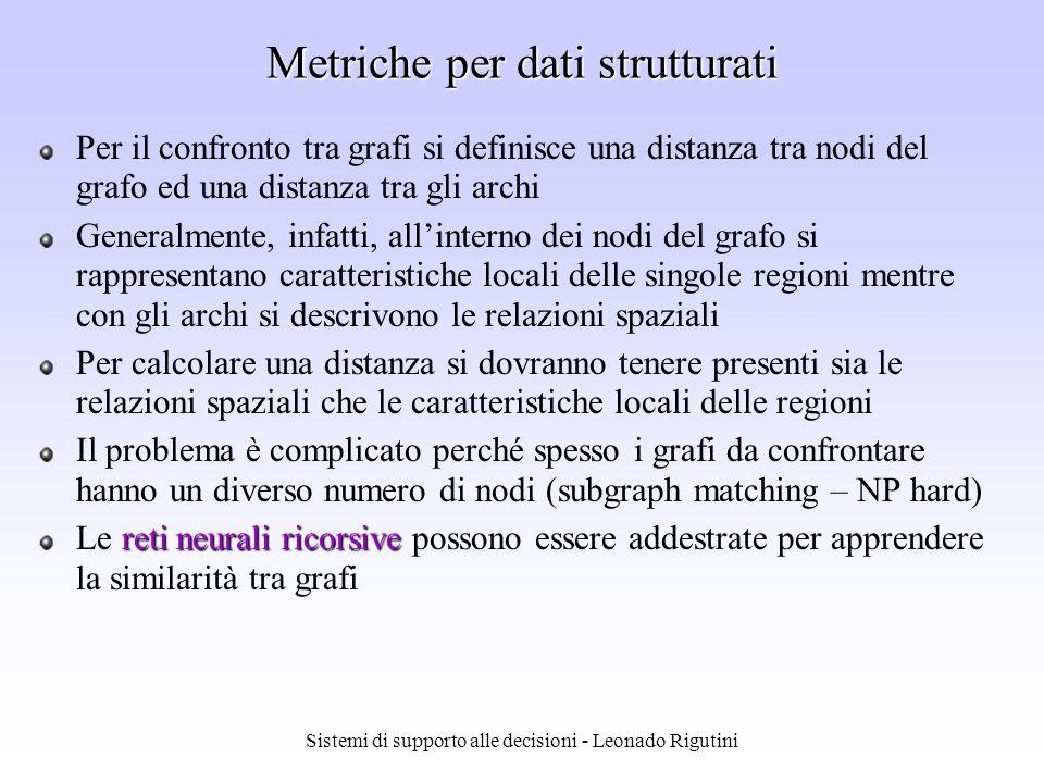 Sistemi di supporto alle decisioni - Leonado Rigutini Metriche vettoriali In generale, una metrica di similarità per pattern in n è la metrica di Minkowsky, nota anche come metrica L k : Per k=1 si ha la distanza di Manhattan o city block Per k=2 si ha la distanza Euclidea