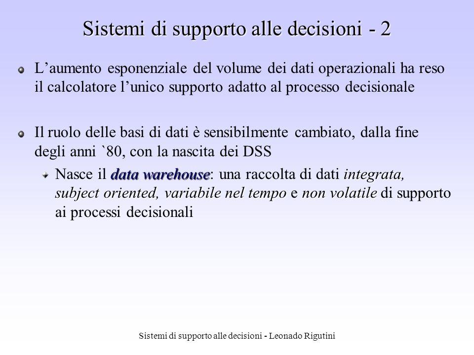 Sistemi di supporto alle decisioni - Leonado Rigutini Esempio decomposizione - 2 Passo 2 Passo 2 estrazione regole confidenza minima 50%Esempio: regola A C supporto {A,C} = 50% confidenza = supporto{A,C}/supporto{A} = 66.6% regole estratte A C supporto 50%, confidenza 66.6% C A supporto 50%, confidenza 100%