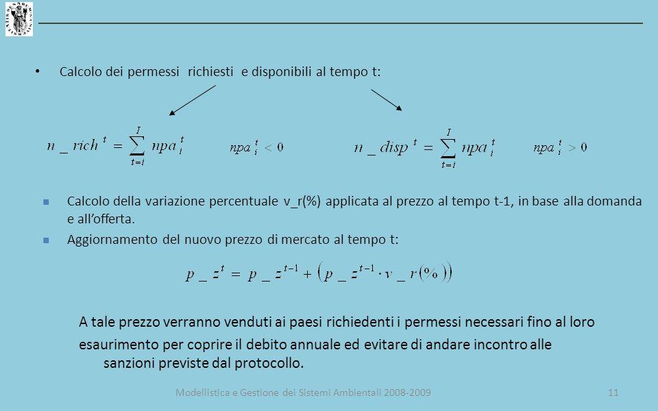 Calcolo dei permessi richiesti e disponibili al tempo t: Calcolo della variazione percentuale v_r(%) applicata al prezzo al tempo t-1, in base alla domanda e allofferta.