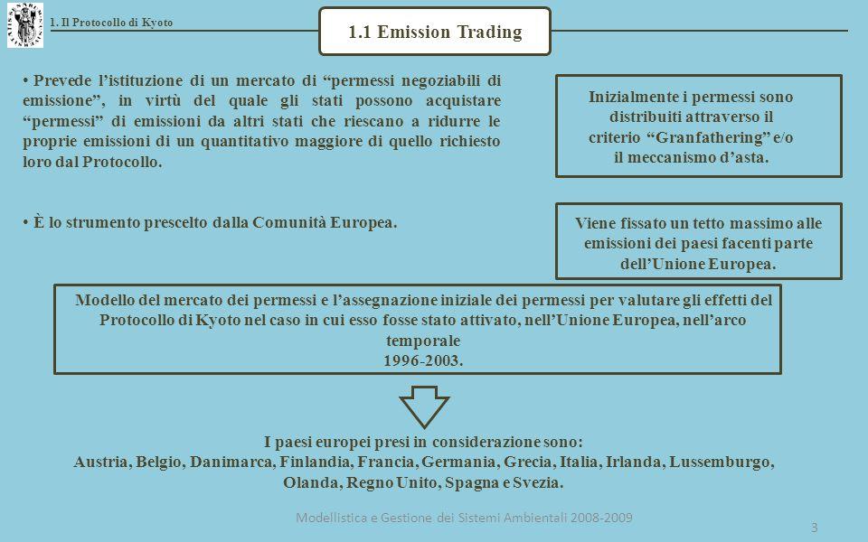 3 1.1 Emission Trading Prevede listituzione di un mercato di permessi negoziabili di emissione, in virtù del quale gli stati possono acquistare permessi di emissioni da altri stati che riescano a ridurre le proprie emissioni di un quantitativo maggiore di quello richiesto loro dal Protocollo.