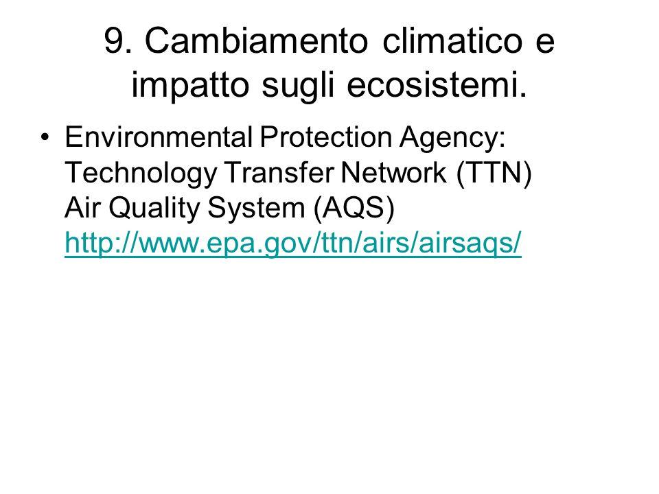 9. Cambiamento climatico e impatto sugli ecosistemi. Environmental Protection Agency: Technology Transfer Network (TTN) Air Quality System (AQS) http: