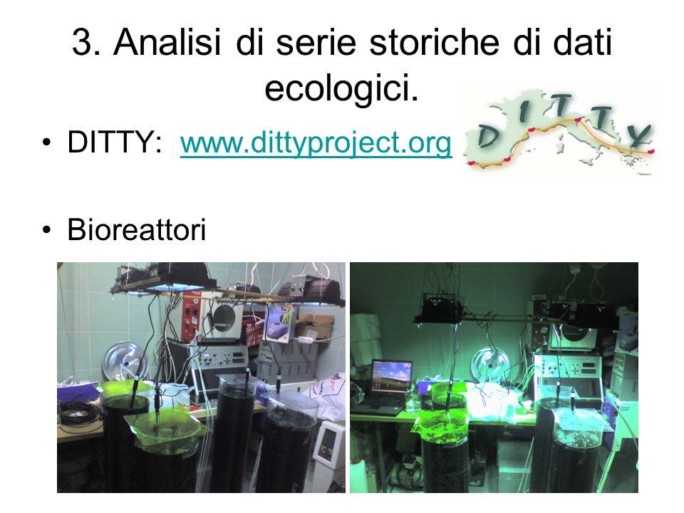 3. Analisi di serie storiche di dati ecologici. DITTY: www.dittyproject.orgwww.dittyproject.org Bioreattori