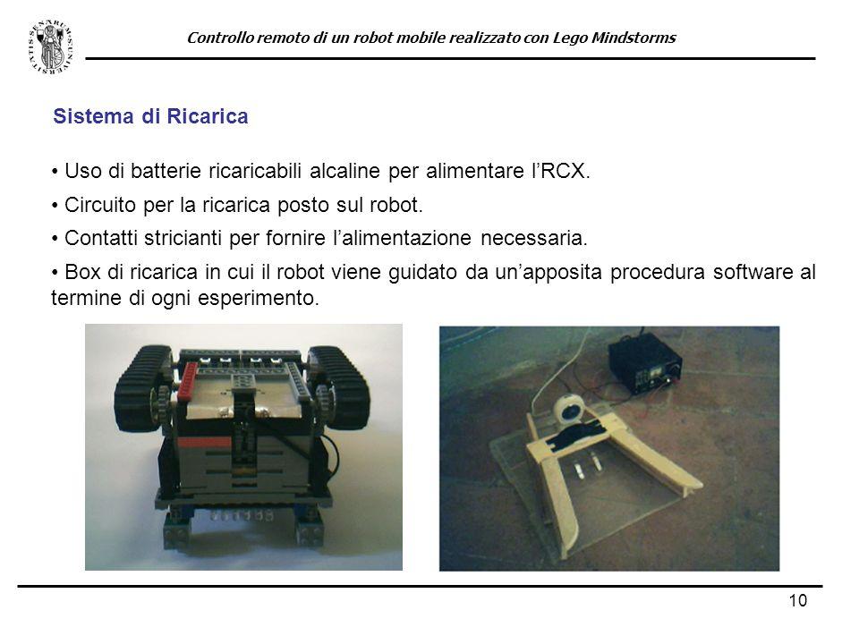 10 Sistema di Ricarica Uso di batterie ricaricabili alcaline per alimentare lRCX. Controllo remoto di un robot mobile realizzato con Lego Mindstorms C