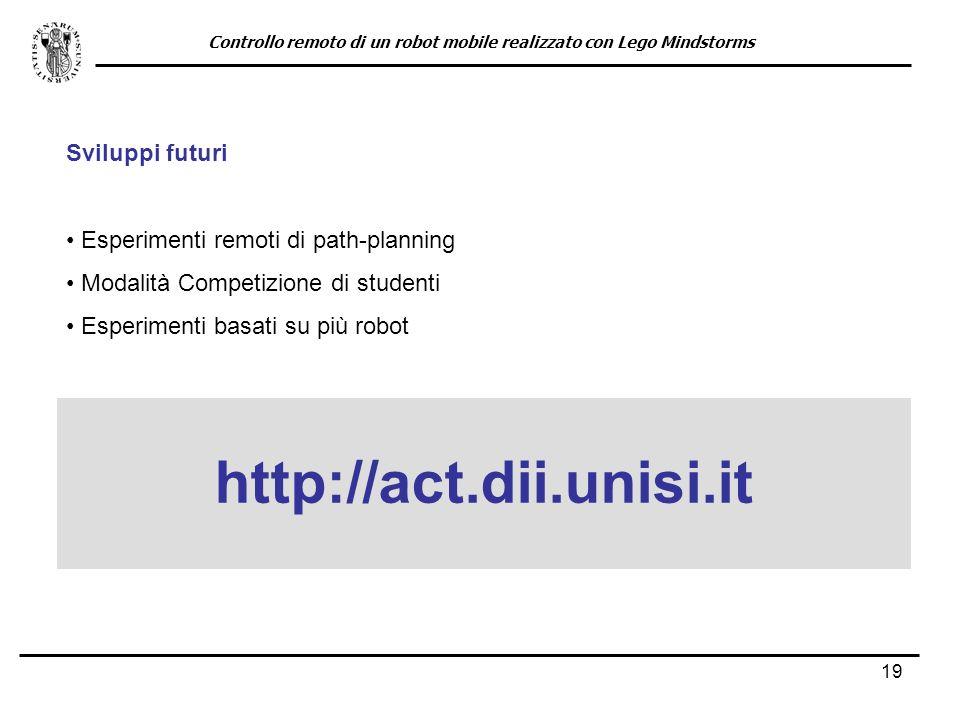 19 Sviluppi futuri Esperimenti remoti di path-planning Modalità Competizione di studenti Esperimenti basati su più robot http://act.dii.unisi.it Contr
