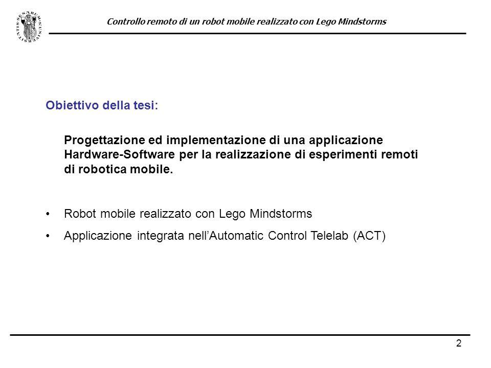 13 Modello teorico (veicolo a due cingoli) posizione ed orientamento del robot velocità dei due cingoli distanza fra i due cingoli Controllo remoto di un robot mobile realizzato con Lego Mindstorms