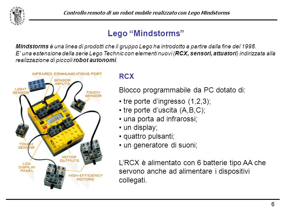 6 Lego Mindstorms Mindstorms è una linea di prodotti che il gruppo Lego ha introdotto a partire dalla fine del 1998. E una estensione della serie Lego